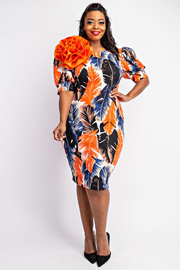 Plus Size Balloon sleeve dress with flower.