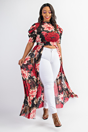 Plus Size Flower short sleeve maxi top.