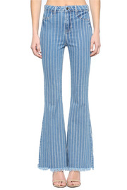 High rise stripe frayed hem flare jean.