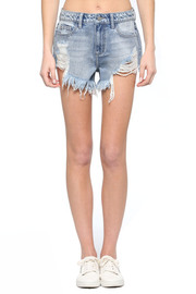 High rise destroy uneven frayed shorts.