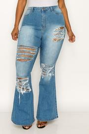 Plus Size High Waist disstressed flare Jean.
