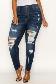 Plus High Waist Distressed Denim jean.