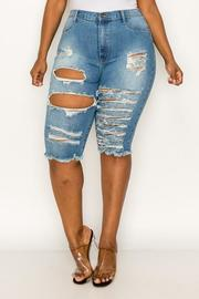 Plus Distressed Denim Capri.