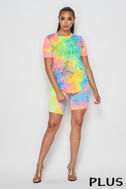 Plus Size 3 Piece Set Tiedye Top & Short and Mask set.