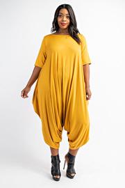Plus Size Short sleeve harem jumpsuit.