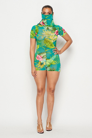 Print Short Sleeve Top with Mask Romper.