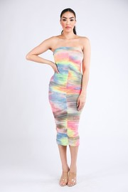 Ruched tiedye mesh tube dress.