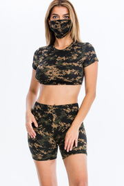 3 Pcs Set Camo print Crop top & Short and Mask set.