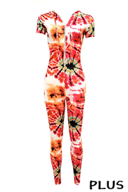 Plus Size Tiedye short sleeve Hoodie front zip jumpsuit.