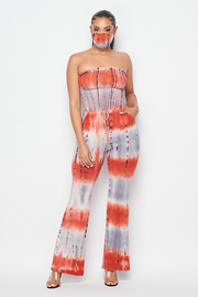2 Piece Set Tiedye Smocking Jumpsuit & Mask set.