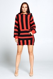 Striped sweater dress with a hoodie, front patch pocket.