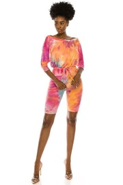 Tiedye print jumper and DTY ribbed.
