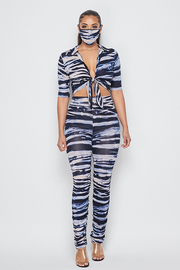 3 Piece set zebra print top & legging and mask set.