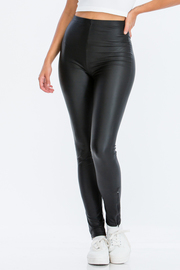 Pu Leggings with Zip on bottom.