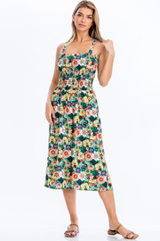 Floral print jumpsuit.