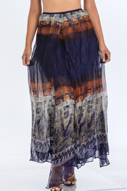Print Long Chiffon Skirt.