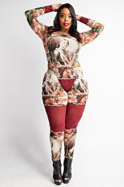 Plus Size Long sleeve bodysuit and leggings set.