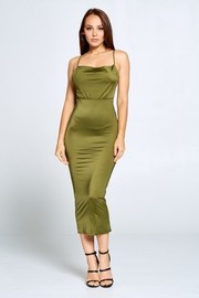 Open back elastic waist midi dress.