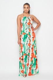 Sleeveless halter maxi dress.