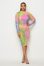 Long sleeve tiedye fishnet midi dress.
