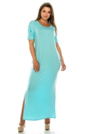 Rayon Spandex dress with pockets sides slips.
