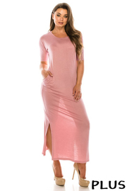 Plus Size Rayon Spandex dress with pockets sides slips.