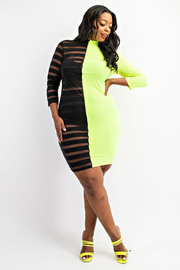 Plus Size Mock neck black and see through striped mesh midi dress.