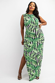 Plus Size Sleeveless maxi dress with side slit.