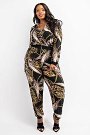 Plus Size Long Sleeve zip-front jumpsuit.