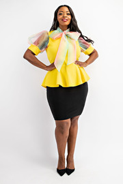 Plus Size Balloon sleeve peplum top with neck tie.