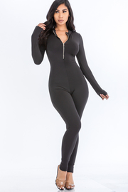 Solid Jumpsuit with front zipper.