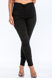 Ruched Solid Leggings.