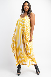 Plus Size Vertical stripe cami dress with pockets.