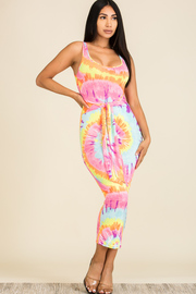 Tie Dye Sleeveless Midi Dress with Waist tie