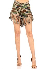 High Waist Stretch Fringed denim short.