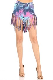 High Waist Tiedye Fringed denim short with RIP In front.