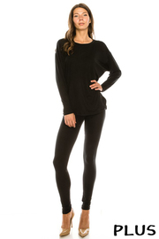 Plus Size Round Neck Solid Long sleeve top & pants Set.