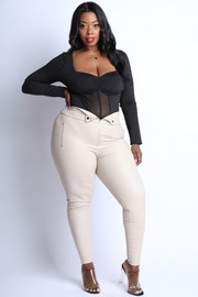 Plus Size Folded waist PU leggings.