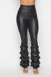 High Waist ruch bottom Leather Leggings.