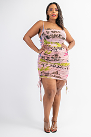 Plus Size Cami Dress with Shirred Sides.