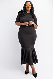 Plus Size Ruffled midi dress with flower.