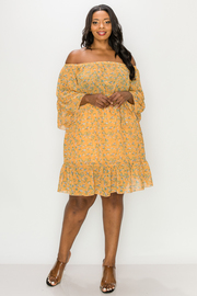 Plus Size Floral print Chiffon Off shoulder Dress.