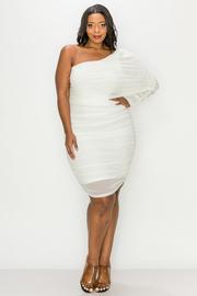 Plus Size Solid Chiffon One shulder Mini Dress.