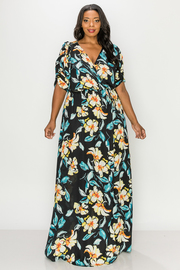 Plus Size V-neck Floral Print Maxi Dress.