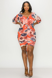 Plus Size V-neck Floral print shirring mini dress.