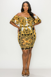 Plus Size Off shoulder print mini dress.