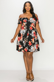 Plus Size Floral Print Opne Shoulder Mini dress.