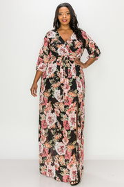 Plus Size Floral Print Maxi dress with slit.