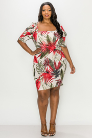 Plus Size Tropical print, mini dress.