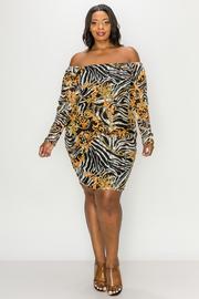 Plus Size Open Shoulder Print long sleeve mini dress.